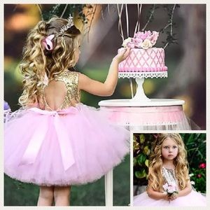 Other - Pink and Gold Sequined Party Dress 12-18 months